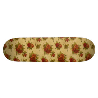 Old School Skateboard with Vintage Floral Print