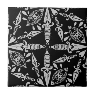 Old school tattoo daggers and eyes tile