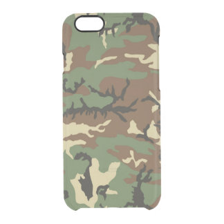 Old School Woodland Camo Clear iPhone 6/6S Case
