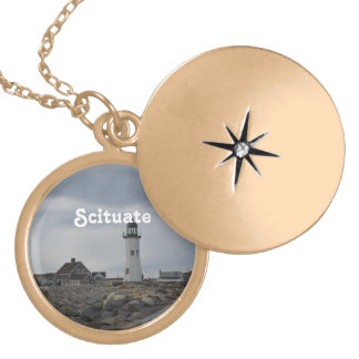 Old Scituate Lighthouse Gold Plated Necklace