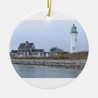 Old Scituate Lighthouse Massachusetts Round Ceramic Decoration