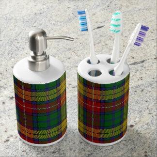 Old Scots Clan Buchanan Tartan Plaid Soap Dispenser And Toothbrush Holder