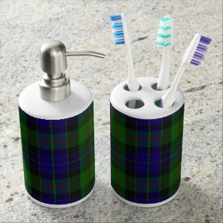 Old Scots Clan Gunn Tartan Plaid Soap Dispenser And Toothbrush Holder