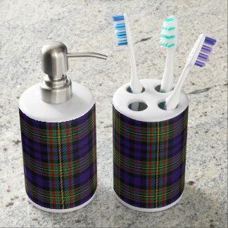 Old Scots Clan MacLellan Tartan Plaid Soap Dispenser And Toothbrush Holder