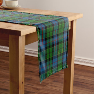Old Scottish Clan Forsyth Forsthye Tartan Plaid Short Table Runner