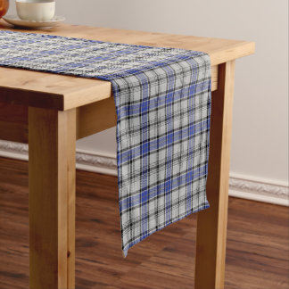 Old Scottish Clan Hannay White Blue Tartan Plaid Short Table Runner