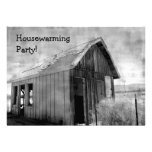 Old shack housewarming party invites
