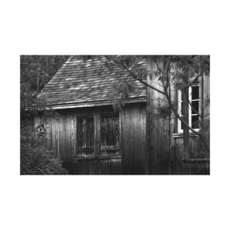 Old shack in the forest-black and white canvas print
