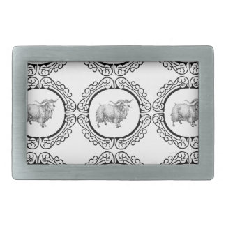 old sheep in bunch rectangular belt buckle