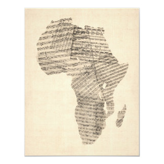 Old Sheet Music Map of Africa Map 11 Cm X 14 Cm Invitation Card