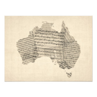 Old Sheet Music Map of Australia Map Photo