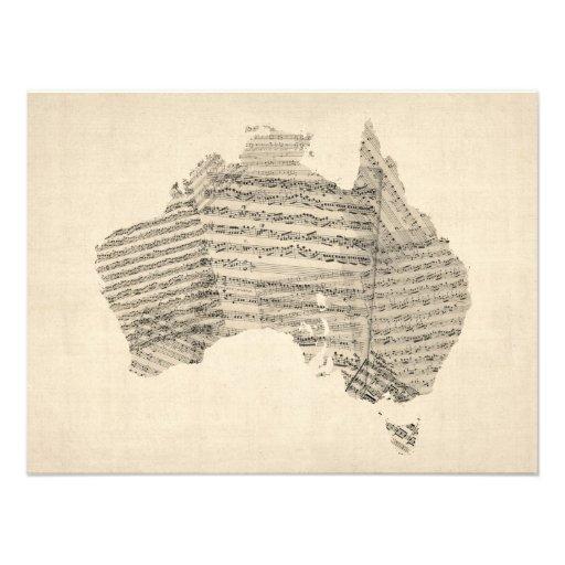 Old Sheet Music Map of Australia Map Photo