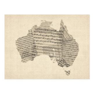 Old Sheet Music Map of Australia Map Postcard