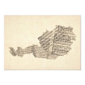 Old Sheet Music Map of Austria Map Custom Invite
