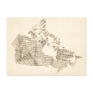 Old Sheet Music Map of Canada Map Canvas Prints