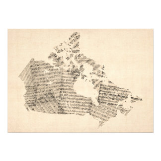 Old Sheet Music Map of Canada Map Personalized Invitations