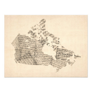 Old Sheet Music Map of Canada Map Photo Print