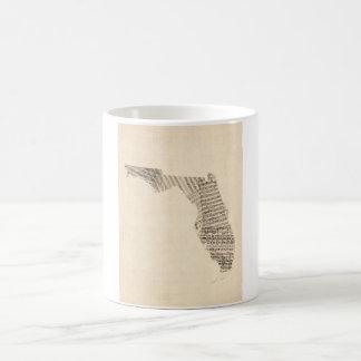 Old Sheet Music Map of Florida Coffee Mug