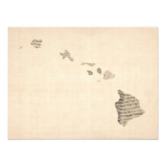 Old Sheet Music Map of Hawaii Photo Print