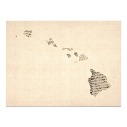 Old Sheet Music Map of Hawaii Art Photo