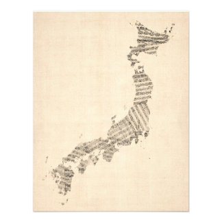 Old Sheet Music Map of Japan Personalized Invites