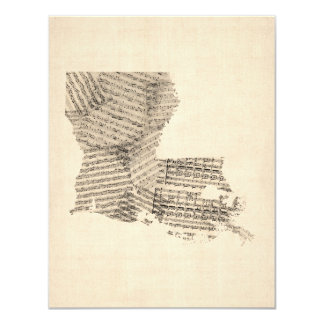 Old Sheet Music Map of Louisiana 11 Cm X 14 Cm Invitation Card