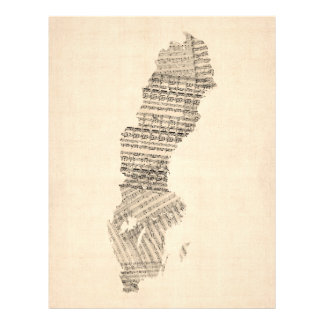 Old Sheet Music Map of Sweden Full Color Flyer
