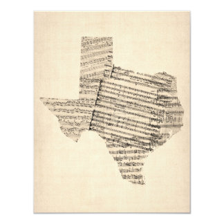 Old Sheet Music Map of Texas 11 Cm X 14 Cm Invitation Card