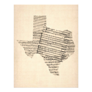 Old Sheet Music Map of Texas Flyers