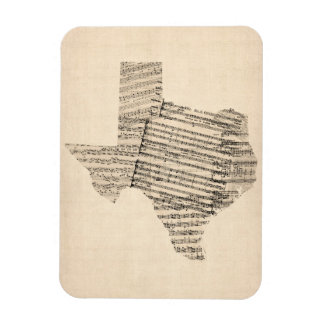 Old Sheet Music Map of Texas Magnet