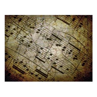 Old sheet musical score, grunge music notes postcard