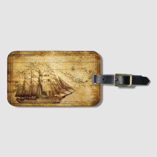Old Ship Map Luggage Tag