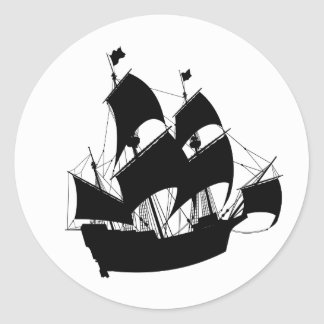 Old Ship Silhouette Stickers