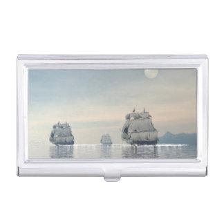 Old ships on the ocean - 3D render Business Card Holder