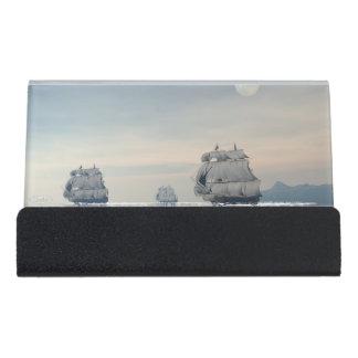 Old ships on the ocean - 3D render Desk Business Card Holder