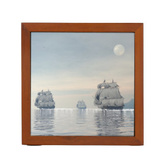 Old ships on the ocean - 3D render Desk Organiser