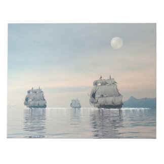 Old ships on the ocean - 3D render Notepad