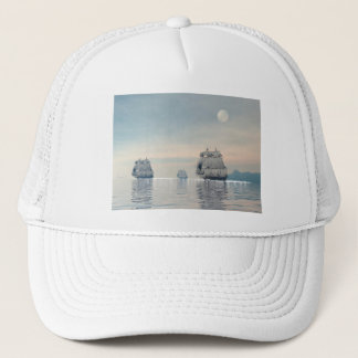 Old ships on the ocean - 3D render Trucker Hat
