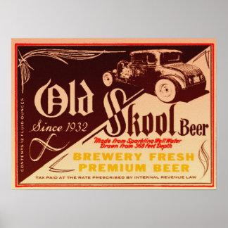 old skool beer poster