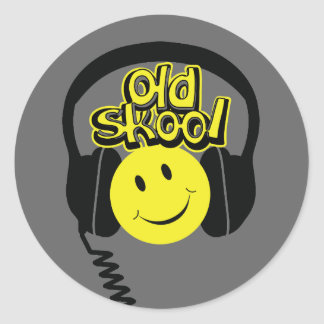 Old skool music headphones smile sticker