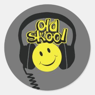 Old skool music headphones smile sticker