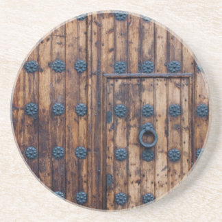 Old Small Door Within Large Doors Beverage Coasters