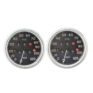 Old speedometer gauge from a vintage race car cuff links