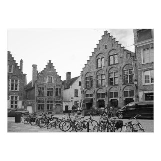 Old square with modern elements. Bruges. Photo Print