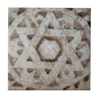 Old Star of David carving, Israel Small Square Tile