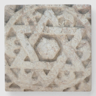Old Star of David carving, Israel Stone Coaster