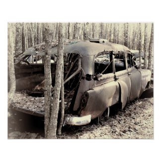 Old Station Wagon in Black and White Poster
