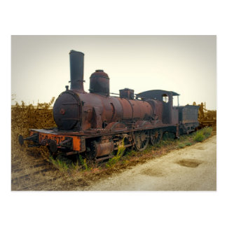 Old Steam Locomotive in Portugal Postcard
