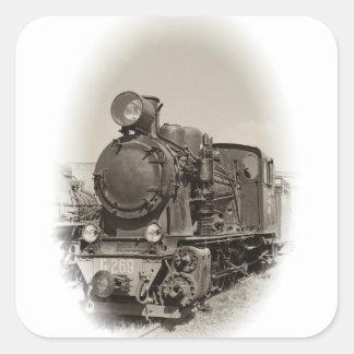 Old steam locomotive square sticker