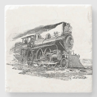 Old Steam Locomotive Stone Coaster